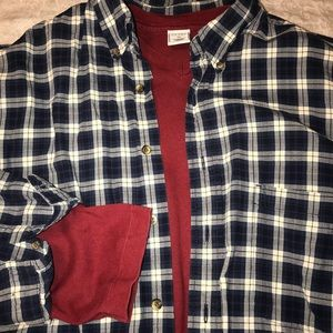 Eddie Bauer Shirts - Eddie Bauer XL TALL long sleeve plaid shirt, Navy